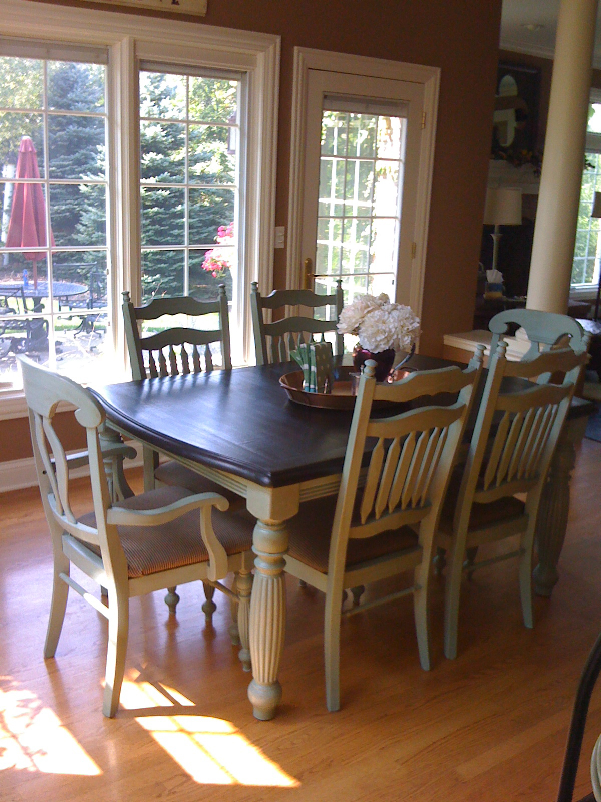 Kitchen Table Makeover Comfy Chair Reupholstered Plus Kitchen Table And Chairs Makeover